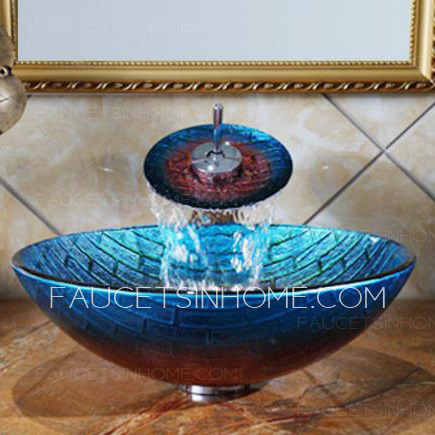 Blue And Red Glass Vessel Sinks Plaid Single Round Bowl With Faucet