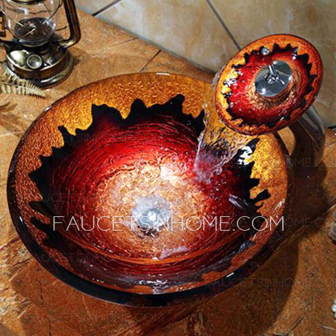 Artistic Gold And Red Round Glass Sinks Single Bowl With Faucet