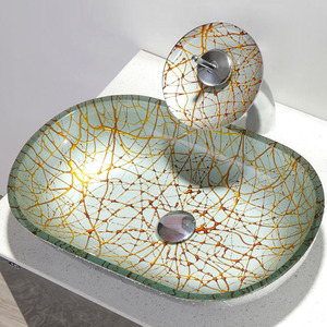 Designed Oval Glass Vessel Sink Single Bowl With Faucet