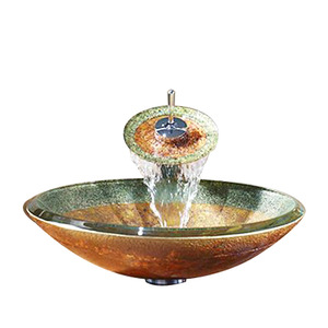 Designed Round Glass Basin Sinks Dark Yellow Single Bowl With Faucet