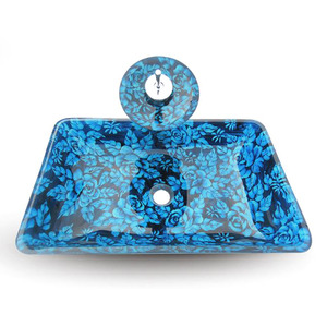 Blue Rectangle Basin Sinks Artistic Floral Single Bowl With Faucet