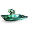 Dark Green Rectangle Glass Sinks Single Handle With Faucet