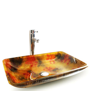 Gold Rectangle Glass Bathroom Sinks Floral Single Bowl