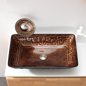 Brown Rectangle Glass Bathroom Vessel Sinks Single Bowl With Faucet