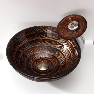 Brown Glass Round Vessel Sinks Swirl Single Bowl With Faucet