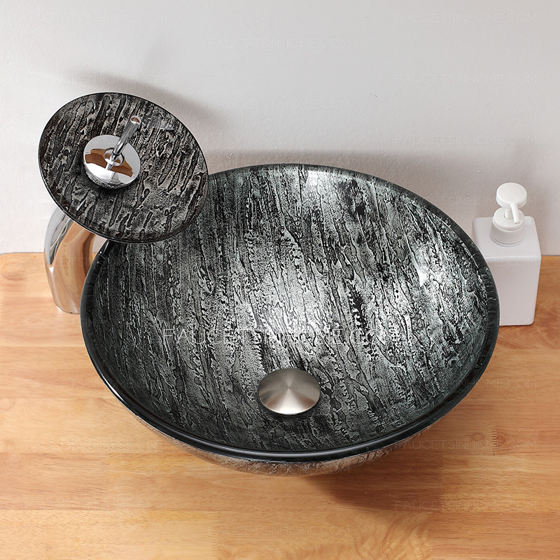 Silver Gray Round Glass Vessel Sinks Single Bowl With Faucet