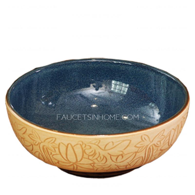 Burlywood Round Ceramic Basin Sinks Single Bowl Lotus Carved