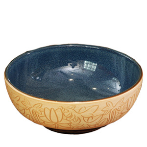 Burlywood Round Ceramic Basin Sinks Single Bowl Lotus Carved