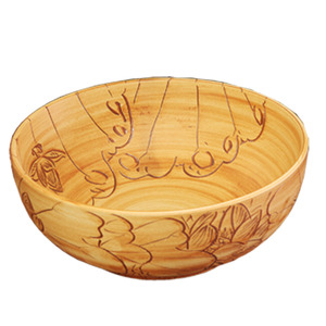 Burlywood Round Porcelain Basins Single Bowl Lotus Carved