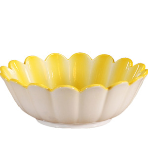 Yellow Ceramic Flower Shape Bathroom Sinks Single Bowl