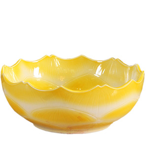 Yellow Round Porcelain Bath Basins Wave Shape Single Bowl