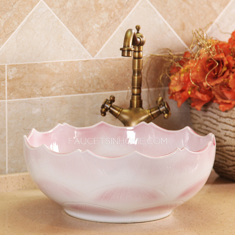 Pink Ceramic Round Vessel Sinks Wave Shape Single Bowl