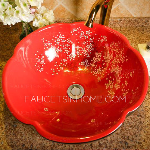 Black And Red Round Ceramic Sinks Flower Shape Single Bowl