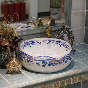 Blue And White Round Ceramic Basins Flower Pattern Single Bowl