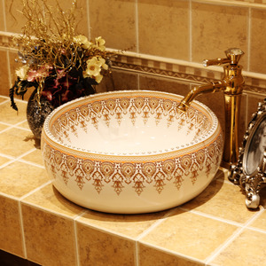 White Porcelain Round Bath Sinks Gold Pattern Painting Single Bowl
