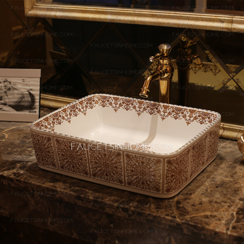 White Rectangle Ceramic Basin Sinks Floral Pattern Single Bowl