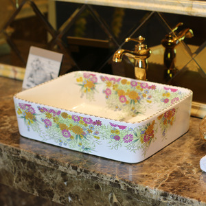 White Rectangle Porcelain Bathroom Sinks Colorful Floral Single Bowl