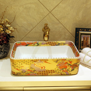 Luxury Gold Rectangle Ceramic Vessel Sinks Pattern Single Bowl