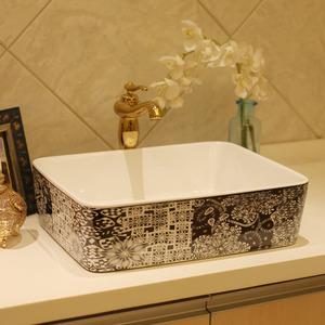 Black Rectangle Ceramic Basin Sinks Pattern Painting Single Bowl