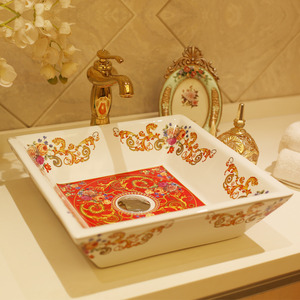 White Square Ceramic Bath Sinks Red Pattern Painting Single Bowl