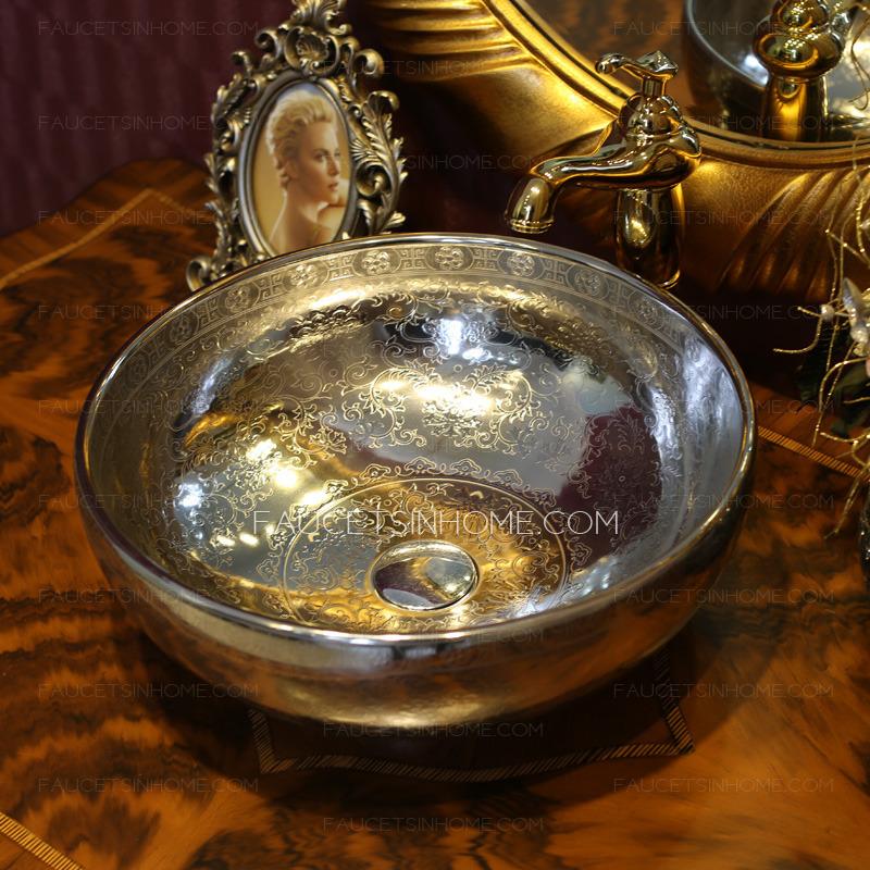 Silver Round Porcelain Vessel Sinks Pattern Single Bowl