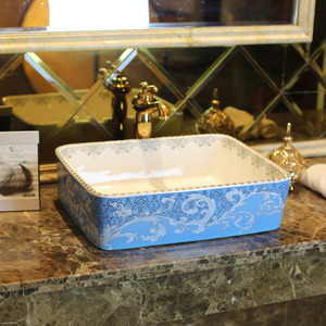 Blue Rectangle Ceramic Bathroom Sinks Pattern Painting Single Bowl