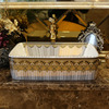 Gold Rectangle Porcelain Bathroom Basins Pattern Single Bowl
