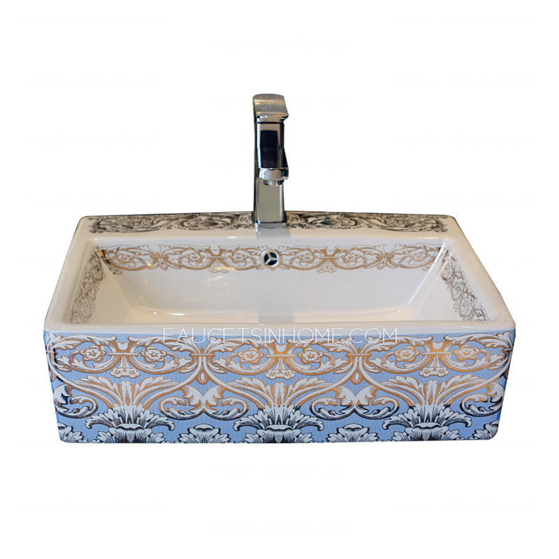 Light Blue Rectangle Porcelain Bath Sinks Single Bowl With