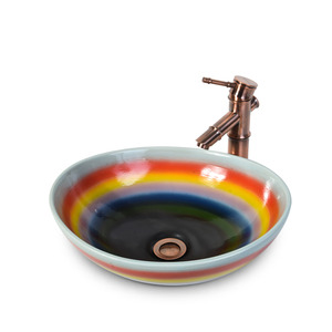 Rainbow Porcelain Bathroom Vessel Sinks Single Bowl
