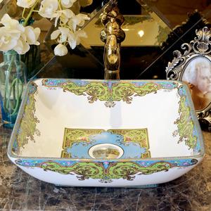 White Square Ceramic Bath Basins Single Bowl Pattern Painting