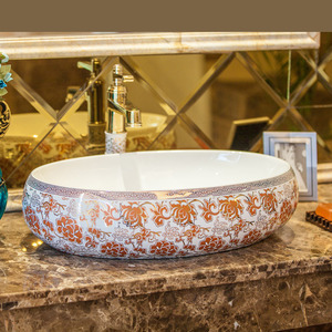 Orange Oval Porcelain Bathroom Sinks Pattern Painting Single Bowl