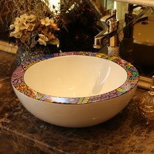 Artistic Round Ceramic Bathroom Sinks Pattern Single Bowl