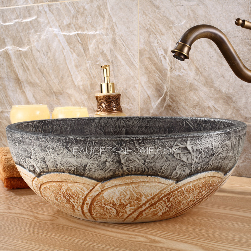 Brown And Gray Round Ceramic Bathroom Sinks Single Bowl