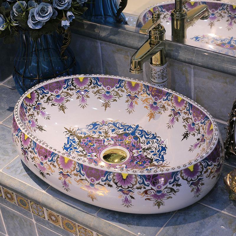 Purple Oval Porcelain Vessel Sinks Pattern Painting Single Bowl