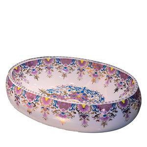 Purple Oval Porcelain Vessel Sinks Pattern Painting Single Bowl