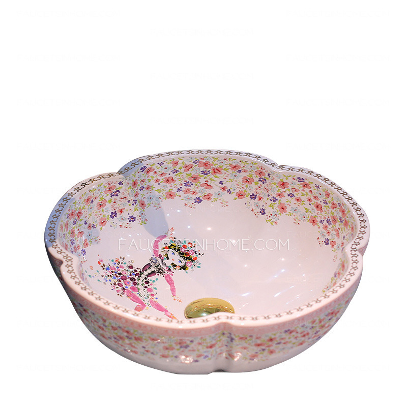 White Flower Shaped Porcelain Bath Basins Floral Painting
