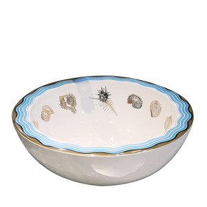 White Porcelain Round Bath Basins Blue Edge Single Bowl Pattern