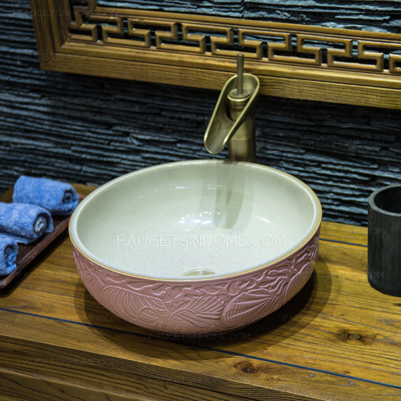 Pink Round Ceramic Vessel Sinks Pattern Carved Single Bowl
