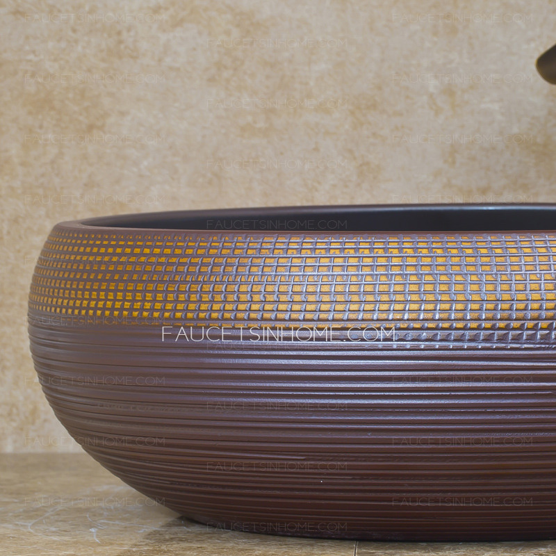 Vintage Round Ceramic Vessel Sinks Chinese Style Single Bowl