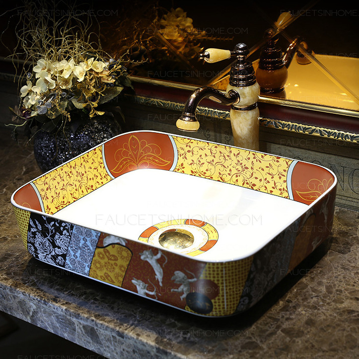 Artistic Rectangle Ceramic Bath Sinks Pattern Painting Single Bowl