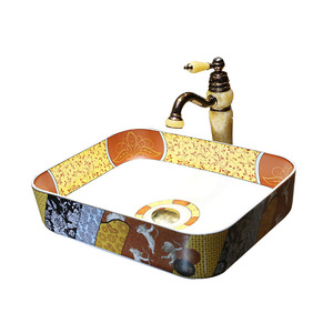Artistic Rectangle Ceramic Bath Sinks Pattern Painting Single Bowl
