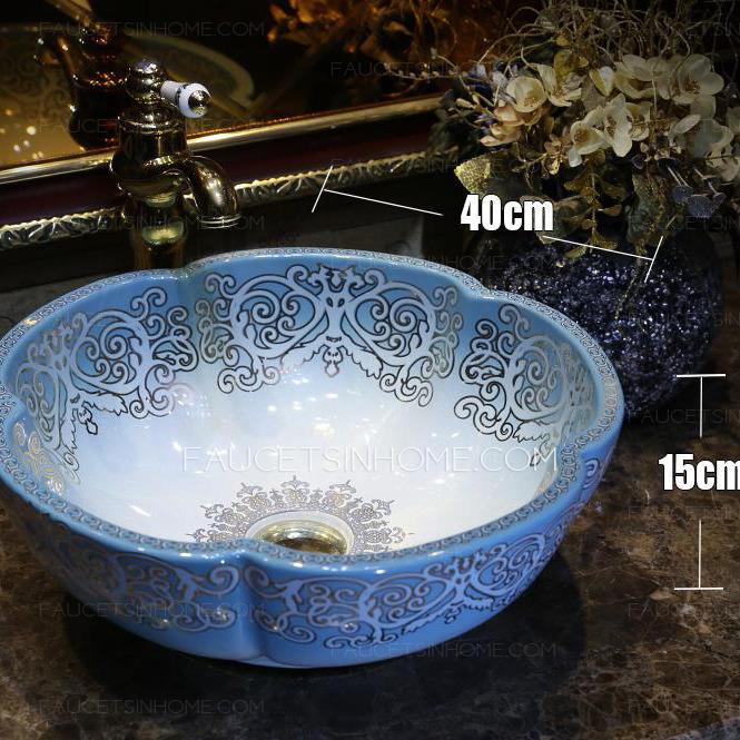 Blue Flower Shape Ceramic Vessel Sink Pattern Painting Single Bowl