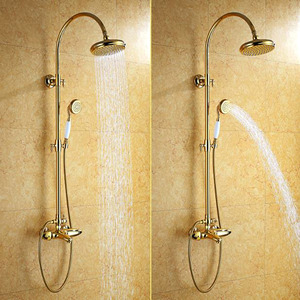 Luxury Polished Brass Thermostatic Exposed Shower Faucet Sets Wall Mount