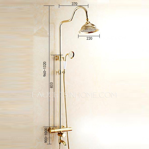 luxury gold polished brass exposed outdoor shower faucet sets