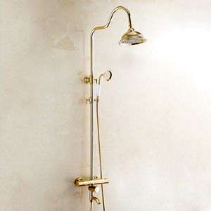Luxury Gold Polished Brass Thermostatic Exposed Outdoor Shower Faucet Sets