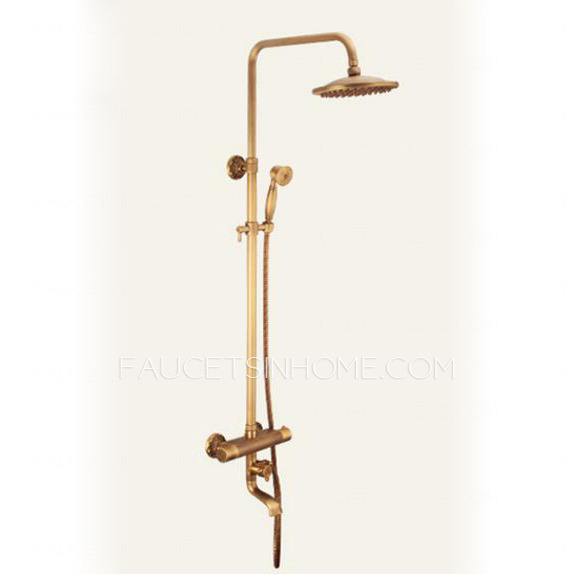 Antique Brushed Brass Thermostatic Exposed Outdoor Shower