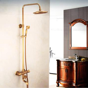 Antique Brushed Brass Thermostatic Exposed Outdoor Shower Faucet Sets