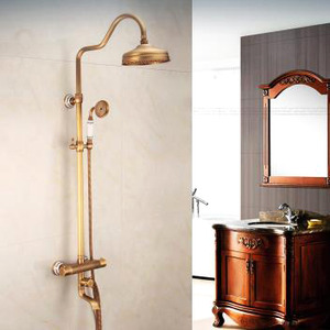 Antique Brushed Brass Exposed Outdoor Shower Faucet Sets Thermostatic