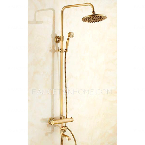 Copper Dual Handle Thermostatic Faucet Bath Brass: Antique Copper Brushed Exposed Outdoor Shower Faucets