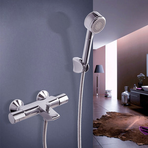 Modern Chrome Brass Wall Mount Thermostatic Exposed Shower Faucets